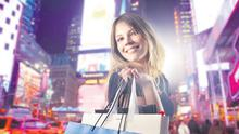 SPEND, SPEND, SPEND: During the Celtic Tiger, jetting off on a shopping trip to New York was a common extravagance (picture posed by model)