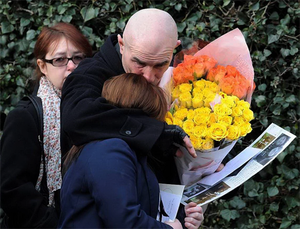 Mourners leave St Wilfrid's Church, Cantley, Doncaster after the funeral service of Casey Kearney. Photo: PA