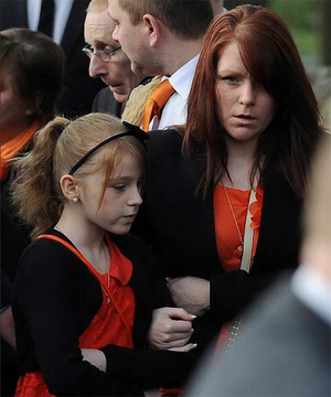 Casey Kearney's mother Kerry Day and sister Sophie, aged 10, ahead of her funeral service at St Wilfrid's Church, Cantley, Doncaster. Photo: PA