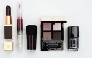 Tom Ford Lip Colour in Black Orchid; Stila Lip Glaze in Black Cherry; Mac Nail Lacquer in Vintage Vamp; Yves Saint Laurent Pure Chromatics Wet and Dry Eyeshadow in No 19; Chanel Nail Polish in Vertigo.