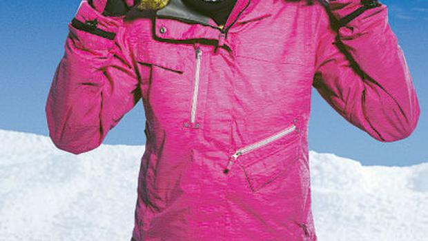 Pink jacket, €39.99 (down from €89.99); gloves, from €16.99, and goggles, from €22.99, all TK Maxx
