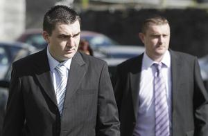 Aidan Dalton (left) and Gary Wright (right) arriving at Nenagh Court House in Co Tipperary.
