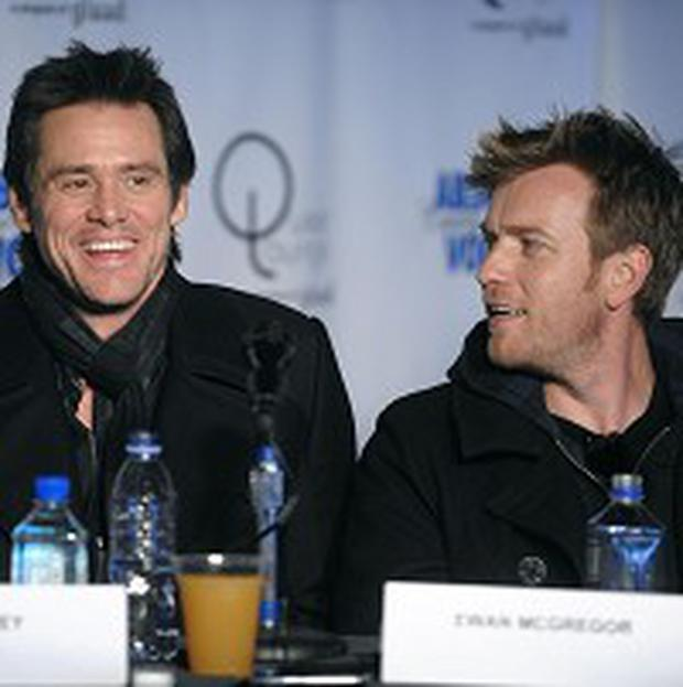 Jim Carrey and Ewan McGregor were honoured at a ceremony in France