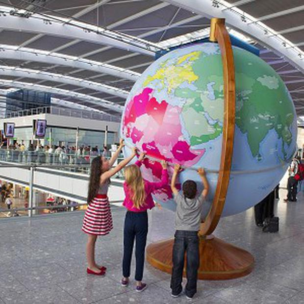 One of the giant globes that Heathrow Airport installed within each of its terminals to help children learn more about geography