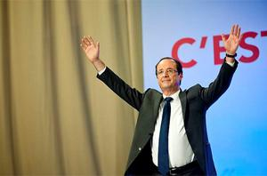 Upbeat: Francois Hollande, the Socialist leader, after his first-round victory in the French presidential election Photo: Getty Images