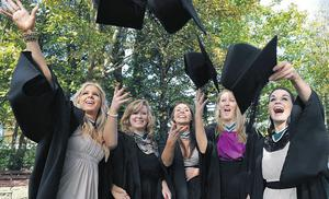 Deidre Donohue, Miriam McLaughlin, Michelle Downes, Aisling O'Sullivan and Deidre Twomey celebrating yesterday after receiving Bachelor of Arts degrees with honours at NUI Galway