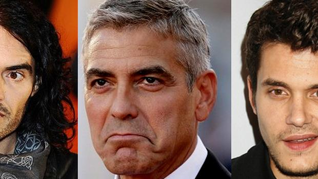 Russell Brand, George Clooney and John Mayer