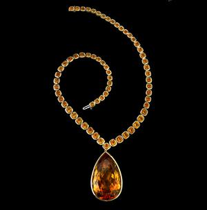 Pear shaped citrine and cushion cut necklace by Style of Jolie.