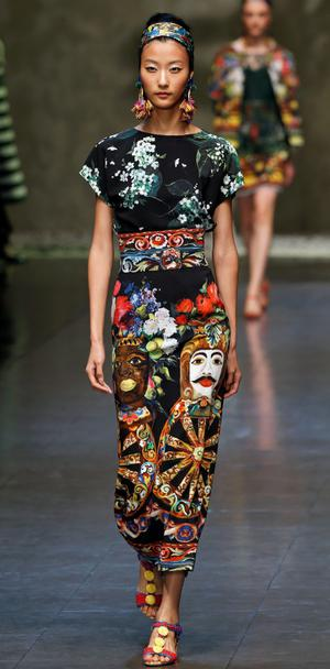 A model displays a creation of Dolce & Gabbana Spring/Summer 2013 collection at Milan Fashion Week September 23, 2012. REUTERS/Stefano Rellandini    (ITALY - Tags: FASHION)