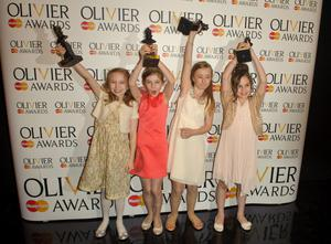 File photo dated 15/04/12 of the winners of the Best Actress in a Musical The Matildas, in the press room at the Olivier Awards 2012, at the Royal Opera House in Covent Garden, central London. PRESS ASSOCIATION Photo. Issue date date: Monday April 16, 2012. The girls, Cleo Demetriou, Kerry Ingram, Sophia Kiely and Eleanor Worthington-Cox, were named joint winners of the Best Actress in a Musical award. One of the girls - 10-year-old Eleanor made history by becoming the youngest ever winner of an Olivier. See PA story SHOWBIZ Matilda. Photo credit should read: Dominic Lipinski/PA Wire