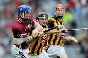 Damien Hayes, Galway, in action against Michael Rice, Kilkenny. Photo: Sportsfile