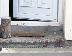 The blood-stained doorstep at the boy's Co Wicklow home following the explosion