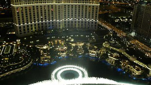The Bellagio Italian-themed casino with a wall of famous fountains along the Las Vegas Strip