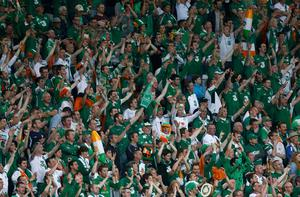 Ireland supporters cheer