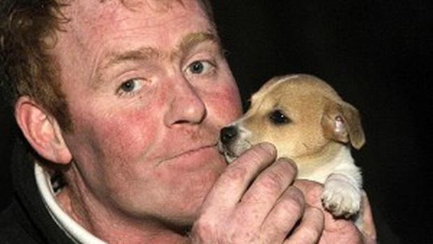John Greene from Greystones, Co Wicklow, with his eight-week-old Jack Russell puppy named Nutty