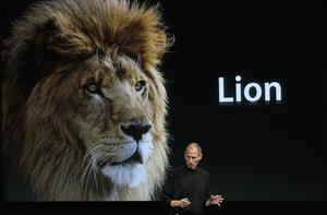 Apple CEO Steve Jobs announces the new OSX Lion operating system. Photo: Getty Images
