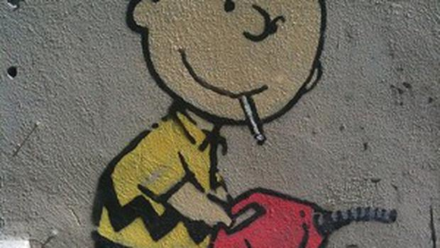 Cartoon favourite Charlie Brown features in an artwork said to have been created in LA by Banksy