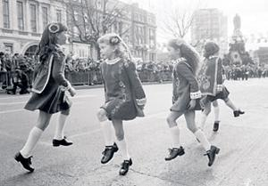Irish dancers entertain the crowd at the Dublin parade in 1982
