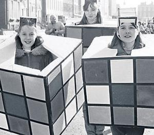 girls dressed as Rubik's Cubes in the capital in 1982
