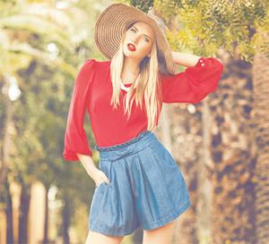 Leopard bow-trim floppy hat, €18; pink long-sleeve blouse, €30, and denim skort (skirtstyle shorts), €35