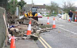 A collapsed wall at Summerhill Road, Wexford.