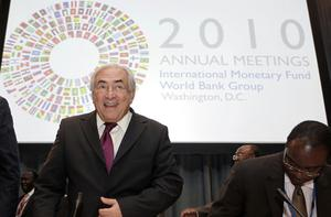 International Monetary Fund managing director Dominique Strauss-Kahn arrives at a meeting with African bank governors at its headquarters in Washington yesterday.