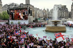 Thousands watch the wedding celebrations of Prince William and Kate Middleton last friday on a giant screen at Trafalgar Square.