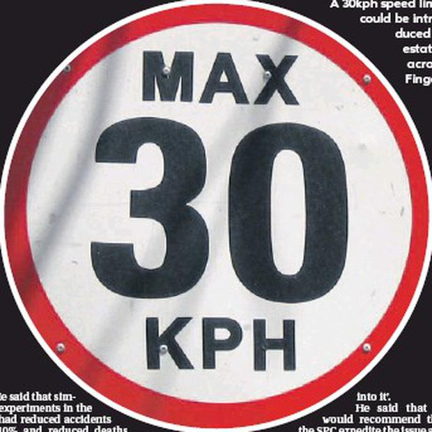 A 30kph speed limit could be introduced in estates across Fingal.