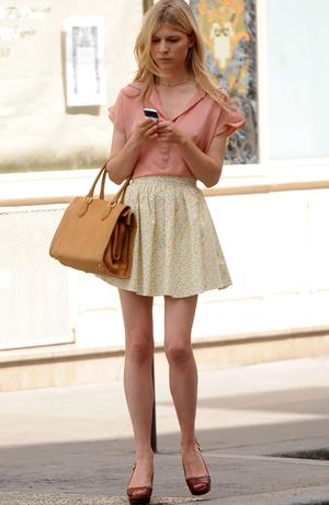 Clemence Posey on the set of Gossip Girl in New York. Photo: Getty Images