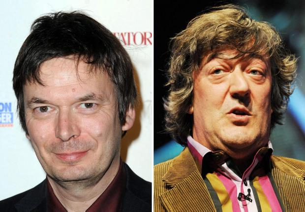 File photos of Rebus writer Ian Rankin (left) and Stephen Fry who has been cast as an art expert who gets mixed up in an underworld heist in a new TV film based on the Rankin novel 'Doors Open'. PRESS ASSOCIATION Photo. Issue date: Thursday April 12, 2012. The actor and presenter will play Professor Gissing in ITV1's Doors Open which is set in Rankin's home town of Edinburgh. See PA story SHOWBIZ Fry. Photo credit should read: PA/PA Wire