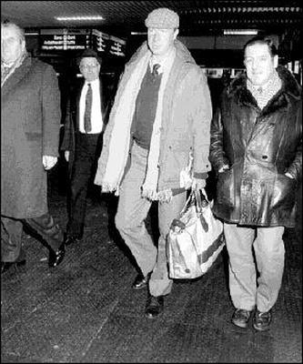 Des Casey, then FAI President on greeting new Irish Manager, Jack Charlton on his arrival at Dublin Airport to announce his appointment in February 1986. On left of photo, is the late Charlie Walsh and former Hon. Treasurer, Joe Delaney.