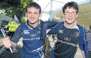 Leinster supporters Will and Ben D'Arcy before their hopes were dashed