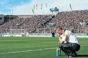 Tipperary coach Tommy Dunne reacts to a wide in the first half during their defeat to Kilkenny on Sunday