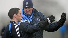 Dublin football manager Pat Gilroy issues instructions to  Rory Corcoran