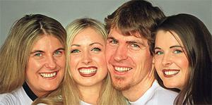 Jim Stynes and his sisters (from left) Sharon, Dearbhla and Terri-Ann. Photo: Herald Sun, Melbourne