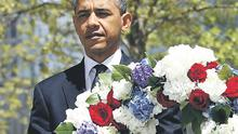 US President Barack Obama, laying a wreath at Ground Zero in New York yesterday, is planning a rally on O'Connell Street, Dublin, during his visit here this month