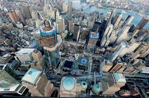 The new One World Trade Centre building overlooks the 9/11 memorial and museum. Photo: Reuters