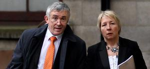 O'FLYNN:  (MICHAEL); FOUNDER  OF O'FLYNN  CONSTRUCTION re    ACTION FOR DAMAGES ALLEGING DEFAMATION AGAINST  LUCINDA CREIGHTON, MINISTER   FOR EUROPEAN AFFAIRS, HIGH COURT, DUBLIN, (13/11/12).*****SEE HI CT STORY.PIC SHOWS:  DEVELOPER  MICHAEL  O'FLYNN, FOUNDER  OF O'FLYNN  CONSTRUCTION  LEAVING  COURT    YESTERDAY  (TUES)  WITH PATRICIA O'BRIEN, SOLICITOR of PJ O'DRISCOLL &  SONS , SOLICITORS, CORK ON THE FIRST DAY OF    HIS ACTION FOR DAMAGES ALLEGING DEFAMATION AGAINST  LUCINDA CREIGHTON,  MINISTER   FOR EUROPEAN AFFAIRS.(PIC: COURTPIX)**** FILE :Creighton Re   O'Flynn Libel CX
