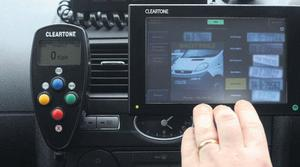 A close-up of the ANPR system in traffic corps vehicles.