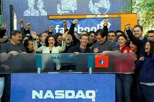 Facebook Founder and CEO Mark Zuckerberg rings the NASDAQ Stock Market Opening Bell remotely from 'Facebook' headquarters. Photo: Reuters