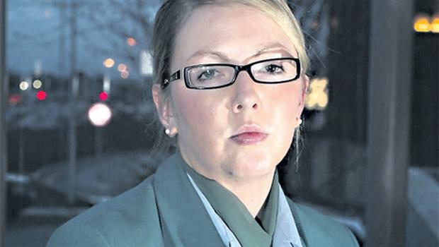 Aer Lingus cabin crew member Ruth O'Sullivan, who has been taken off the payroll