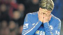 Chelsea's Fernando Torres reacts following a missed opportunity against Manchester City. Photo: Reuters