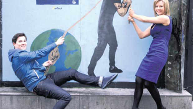 Broadcaster and See Change ambassador Claire Byrne and Royseven frontman Paul Walsh launch the First Fortnight Festival in Temple Bar, Dublin, yesterday