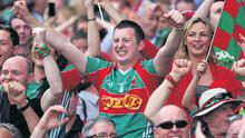 Mayo fans celebrate their victory over Dublin in the All- Ireland Senior Football semi-final yesterday