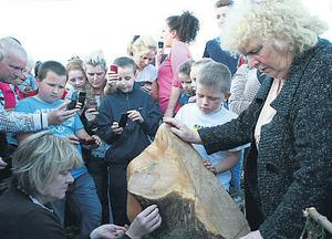 A crowd gathers at the tree stump to light candles, take pictures and say the Rosary yesterday.