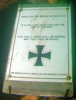 The special plaque left at the UC-42 site as a mark of respect by the divers who found her