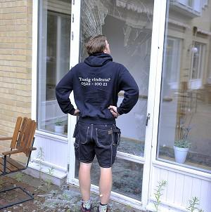 A glazier examines the damage after a moose burst into a geriatric care home in Sweden (AP)