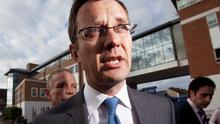 Former 'News of the World' editor Andy Coulson at a police station in south London after being arrested yesterday