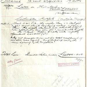The original insurance valuation for the Titanic following its sinking on April 15 1912