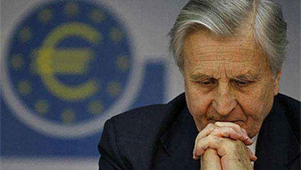 Jean-Claude Trichet, president of the European Central Bank, during his monthly news conference in Frankfurt, yesterday, where he announced the ECB will leave interest rates unchanged. Photo: Reuters
